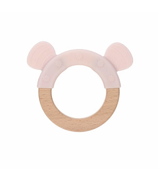 Lassig Teether Ring Wood/Silicone Little Chums Mouse