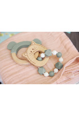 Lassig Teether Ring Wood/Silicone Little Chums Cat