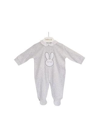 Baby Gi Grey Cotton Onesie Sleepy Bunny