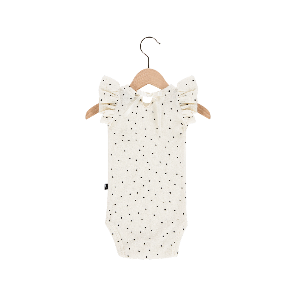 House Of Jamie Ruffled Bodysuit Cream Black Dots