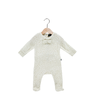 House Of Jamie Bow Tie Babysuit Cream Leopard