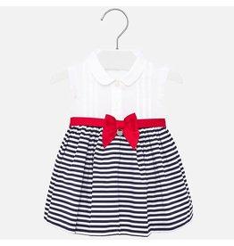 Mayoral Dress Navy White Stripes