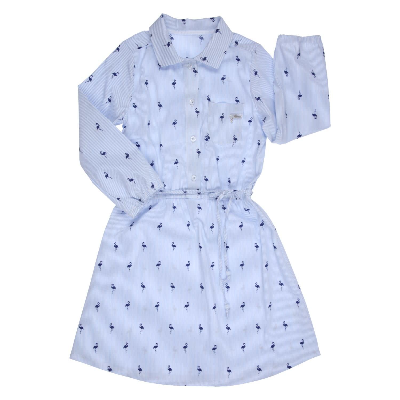 Gymp Shirt Dress Blue Flamingo