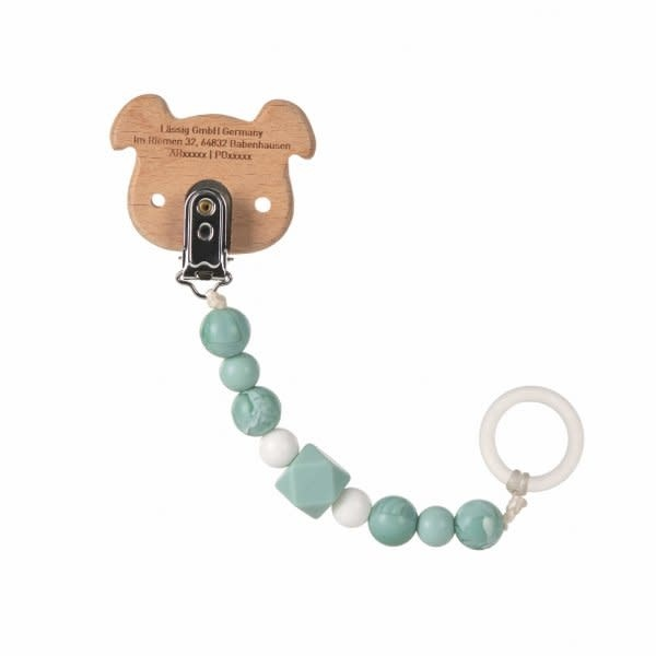 Lassig Scoother Holder Wood/Silicone Little Chums Dog