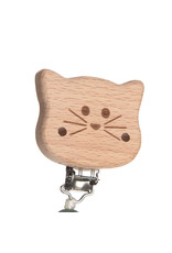 Lassig Scoother Holder Wood/Silicone Little Chums Cat