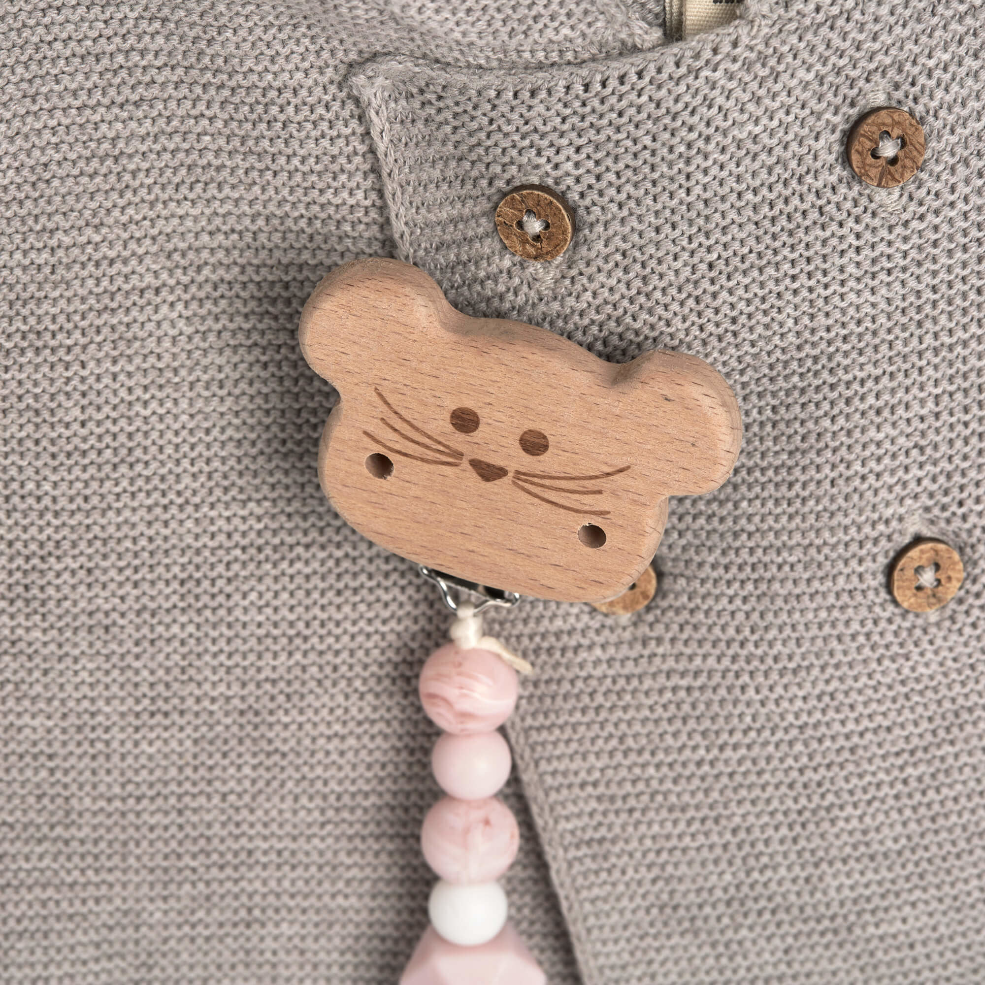 Lassig Scoother Holder Wood/Silicone Little Chums Little Chums Mouse
