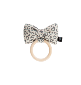 House Of Jamie Teething Ring Bow Tie Snow Leopard