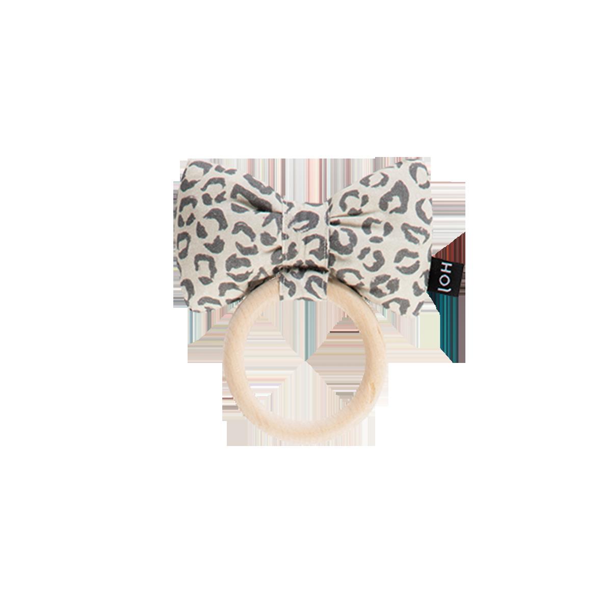 House Of Jamie Teething Ring Bow Tie Snow Leopard