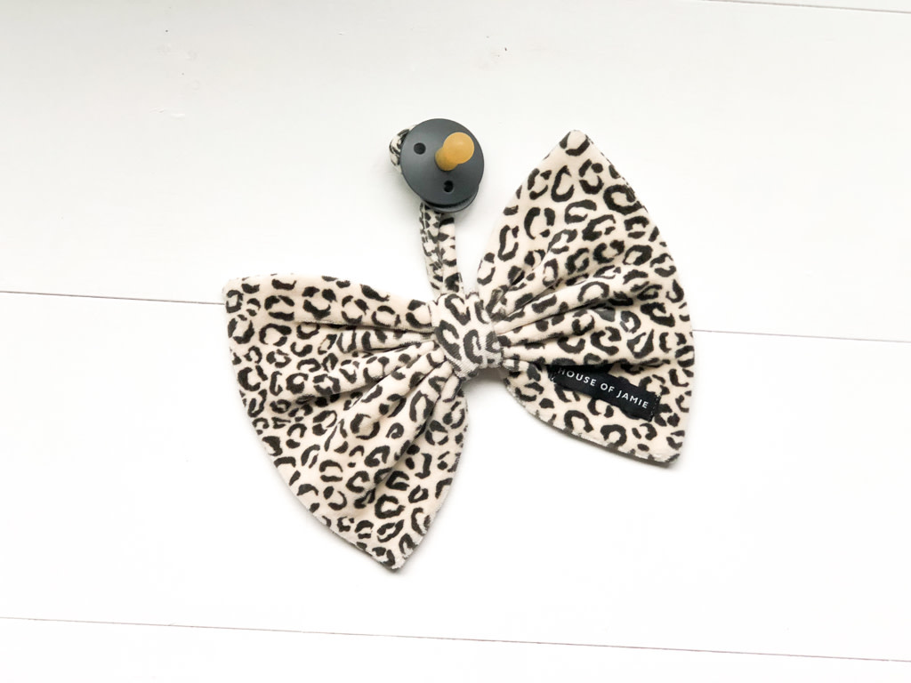 House Of Jamie Pacifier Cord Bow Tie Snow leopard Velvet