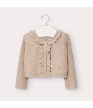 Mayoral Knitted Cardigan With Flounces Stone