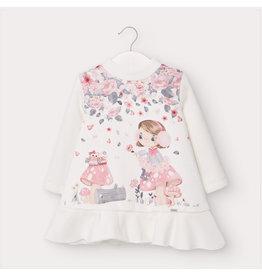 Mayoral Graphic Print Fleece Dress Rosa