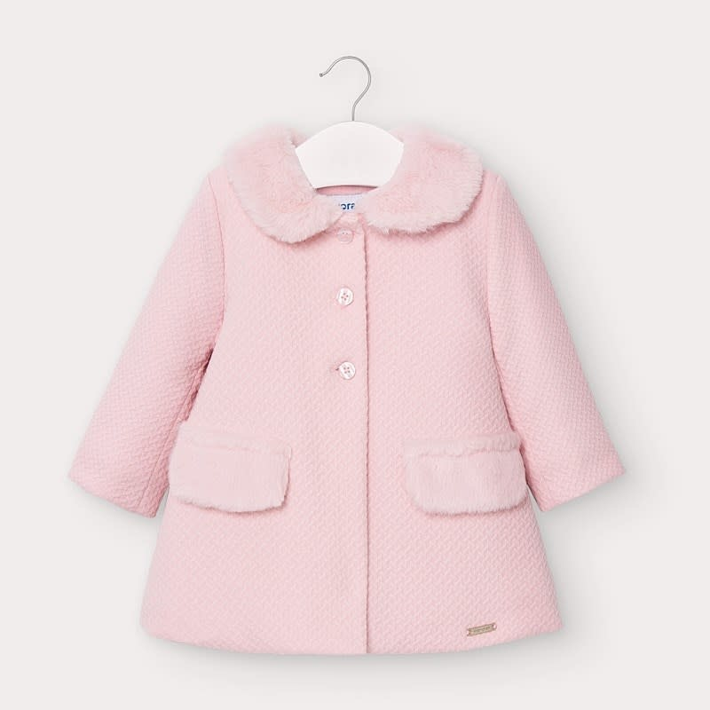 Mayoral Structured Knit Coat Rosa