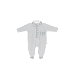 Baby Gi Onesie Light Grey Melange Velour Blue Details