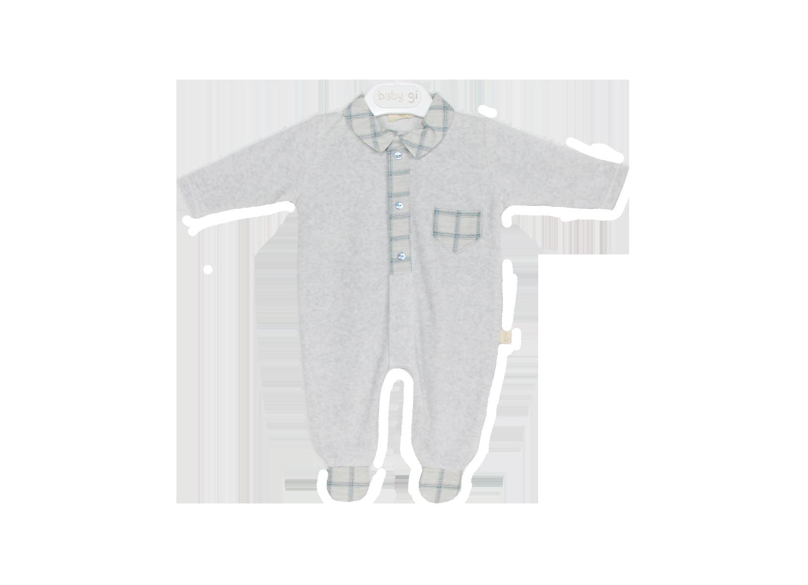 Baby Gi Onesie Light Grey Melange Velour Blue Details