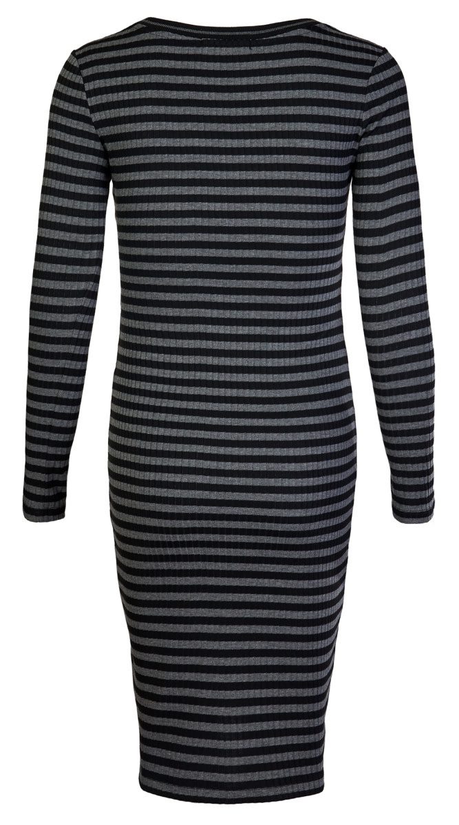 Supermom Dress Stripes Long Sleeve Black