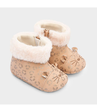 Mayoral Booties With Faux Fur Beige