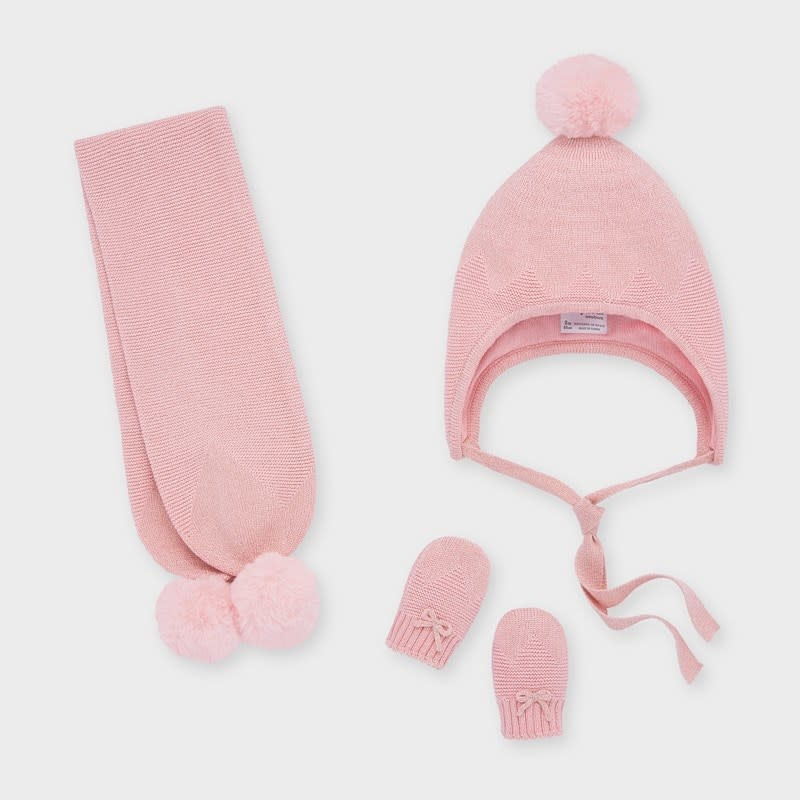 Mayoral Hat-Scarf & Mittens Set Candy