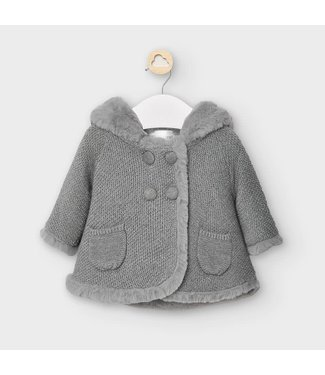 Mayoral Pompom Knitted Cardigan Grey