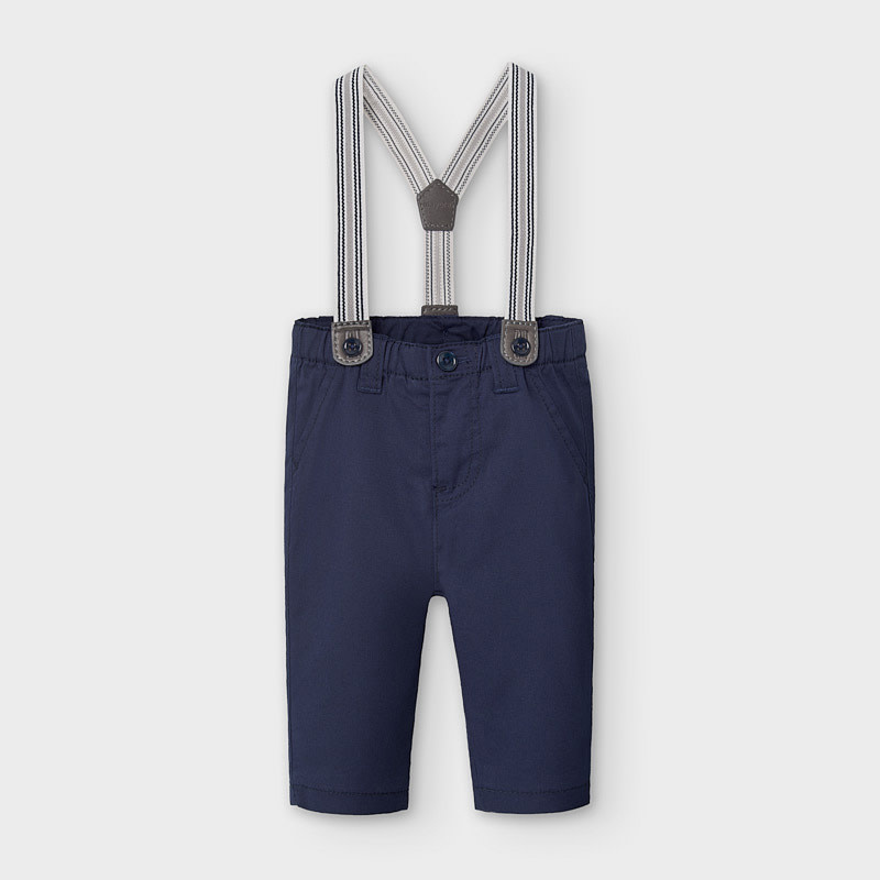 Mayoral Navy Long Trousers With Suspenders