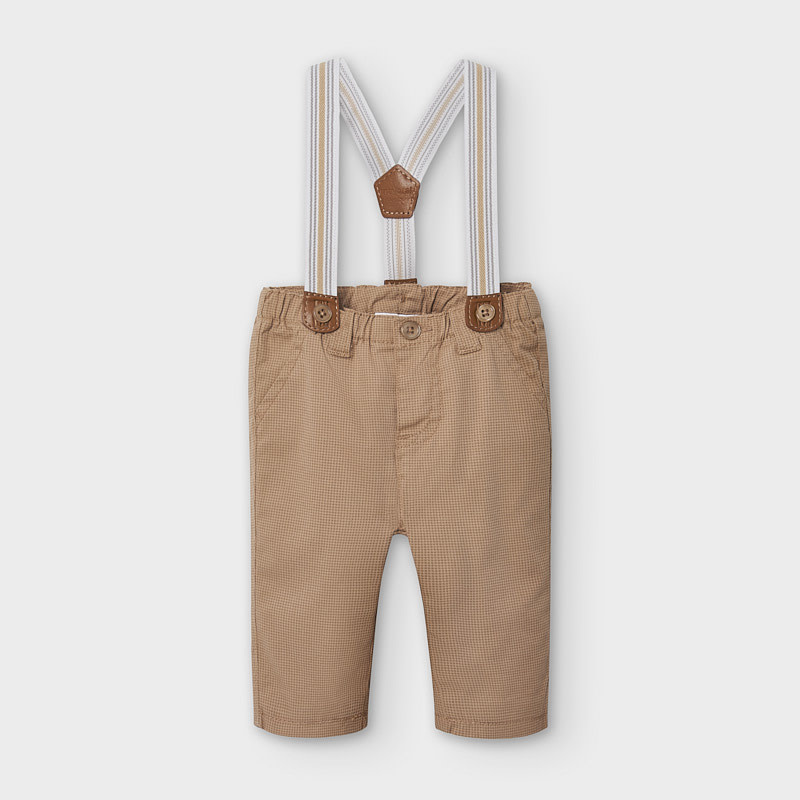 Mayoral Long Trousers With Suspenders Hazelnut