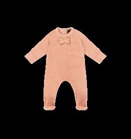 House Of Jamie Bow Tie Babysuit Terra Blush Velvet