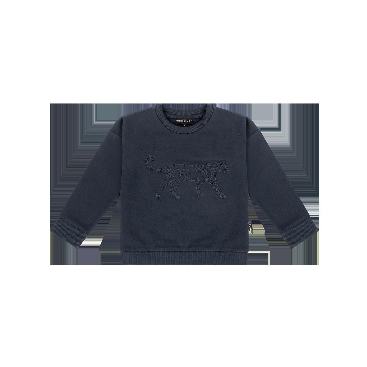 House Of Jamie Crewneck Sweater Dark Blue Leopard
