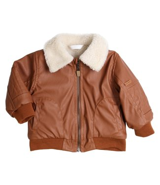 Gymp Cognac Fake Leather Jacket
