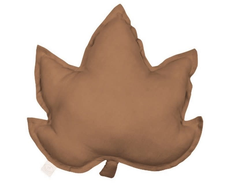 Cotton & Sweets Pure Nature Linen Maple Leaf Pillow Chocolate