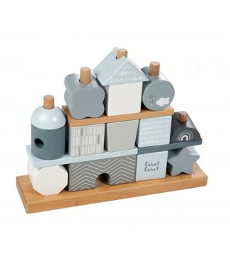 Label Label Stacking Blocks House Blue