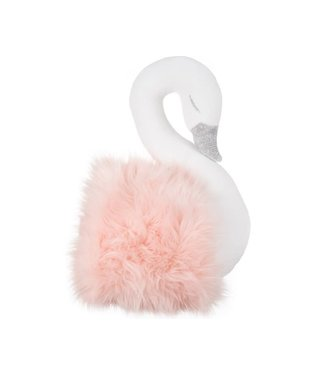 Cotton & Sweets Wall Swan Decoration White With Powder Fur
