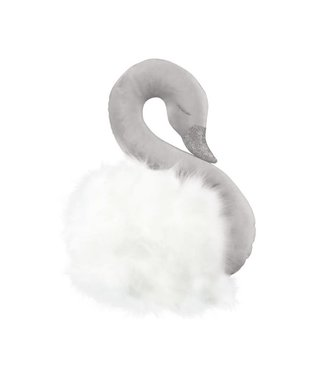 Cotton & Sweets Wall Swan Decoration Grey With White Fur