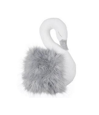Cotton & Sweets Wall Swan Decoration White With Grey Fur