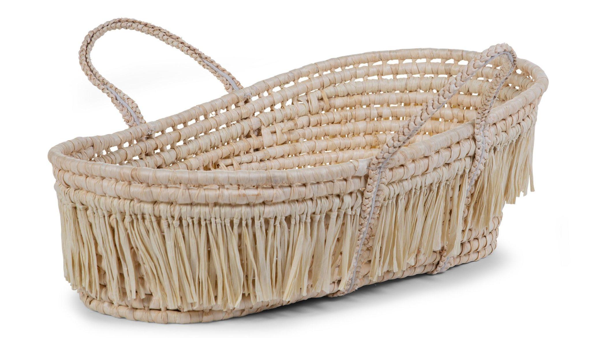 Childhome Moses Basket Soft Cornhusk Raffia + Matras