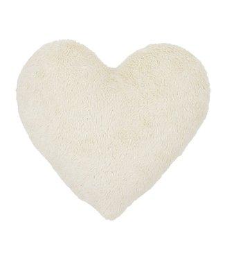 Cotton & Sweets Boho Sheepskin Heart Pillow Vanilla