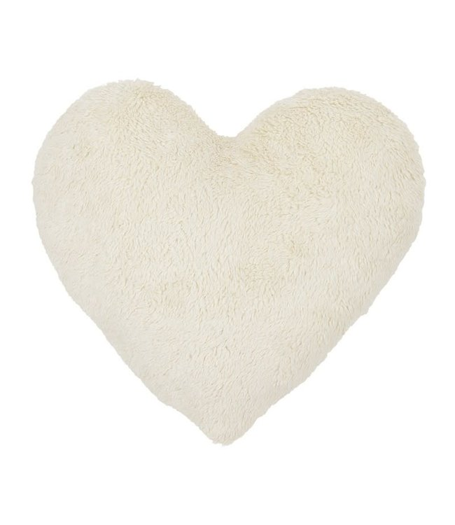 Cotton & Sweets Boho Sheepskin Heart Pillow Vanilla