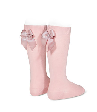 Condor Knee-High Socks With Back Bow Pale Pink