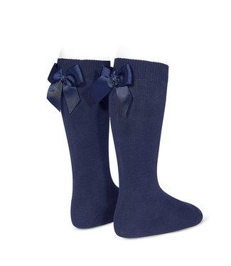 Condor Knee-High Socks With Back Bow Marino
