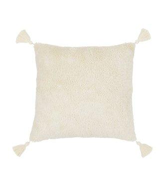 Cotton & Sweets Sheepskin Fringe Square Boho Pillow