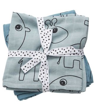 Done By Deer Burp Cloth 3-Pack Deer Friends Blue