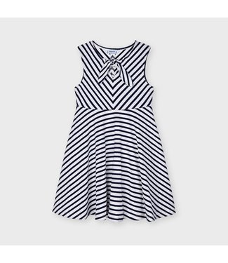 Mayoral Dress Navy Stripes