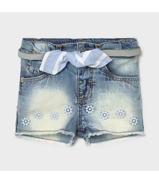Mayoral Bleached Jeans Short White Flower