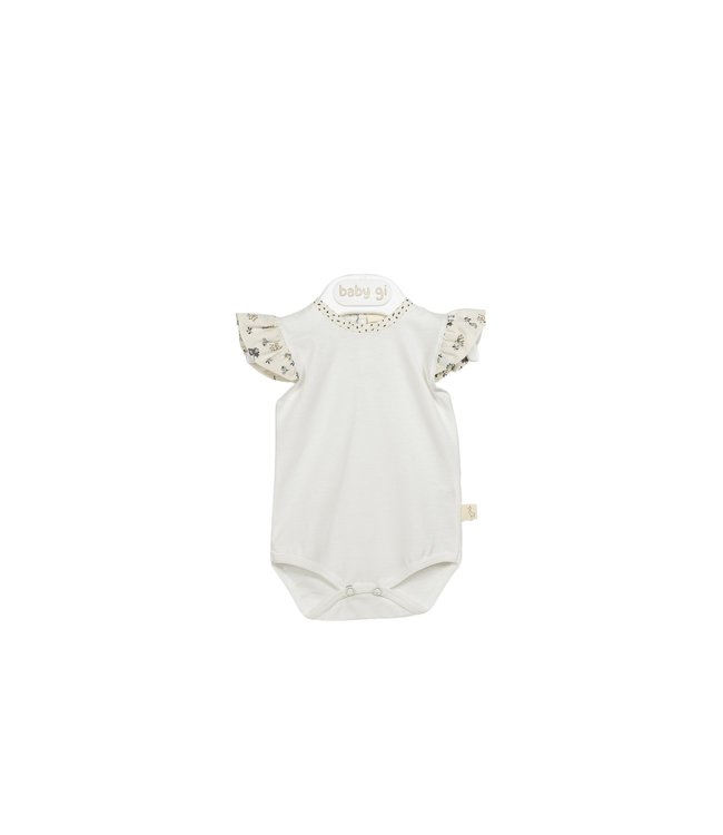 Baby Gi Bodysuit With Angel Sleeves Sand Flowers