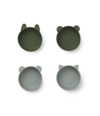 Liewood Iggy Silicone Bowls 4-Pack Hunter Green Mix