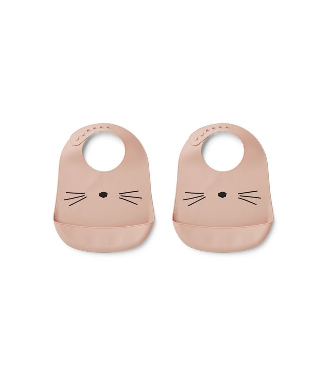 Liewood Tilda Silicone Bib 2-Pack Cat Rose