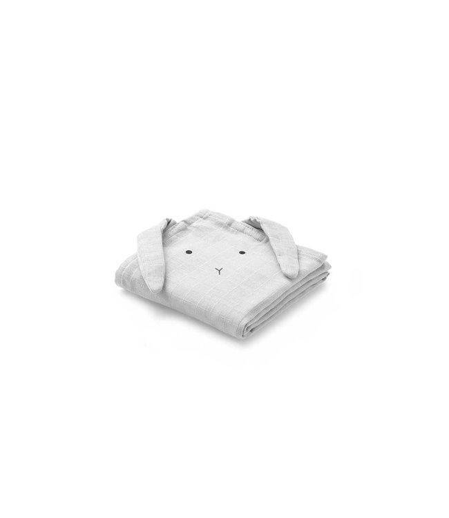 Liewood Hannah Muslin Cloth 2-Pack Rabbit Grey