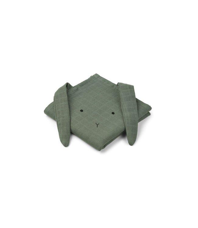 Liewood Hannah Muslin Cloth 2-Pack Rabbit Faune Green