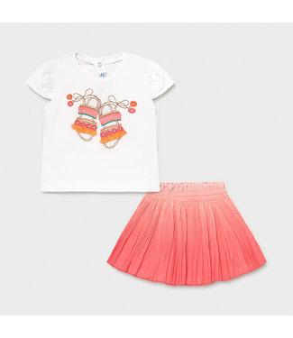 Mayoral Tie Dye Skirt Set Coral