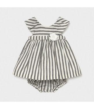 Mayoral Linen Stripes Dress Negro