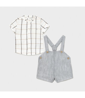 Mayoral Shorts With Suspenders Set Gray