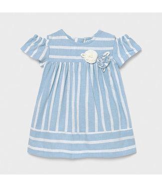 Mayoral Stripes Dress Sky